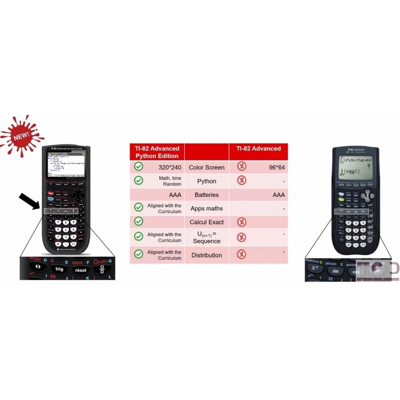 Comparatif TI-82 ADVANCED EDITION PYTHON et TI-82 ADVANCED